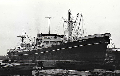 FORT MUSQUARRO - Cargo - 'North Sands' Type - 7130GRT/10000DWT - 134.4 x 17.4 - 1944 Marine Industries Ltd., Sorel, No.128 - 1950 WEST HILL, 1957 RIO DORO - 03/63 broken up at Hirao - seen here as WEST HILL (Counties Ship Management).