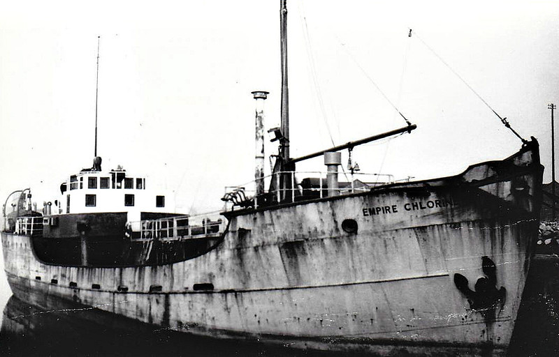 EMPIRE CHLORINE - LPG Tanker - 307GRT/300DWT - 41.5 x 7.6 - 1939 Schiffs Kremer & Sohn, Elmhorn, No.830 as TRAVE (1939-52) - 1945 taken in damaged condition at Flensburg and towed to Methil for refitting - 1953 TRAVE, 1954 HYBO, 1954 HYBORG, 1054 UNIKLOR, 1978 FRISNES, 1989 HINNATANK, 2000 MILJOTANK (NOR) - still trading.