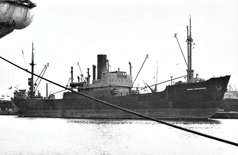 EMPIRE CONSEQUENCE - Cargo - 1998GRT/2830DWT - 97.0 x 13.3 - 1940 Lubecker Flenderwerft, No.396 as FRIEDRICH BISCHOFF (1940-45) - 1951 KAISANIEMI - 10/67 broken up at Grimstad.