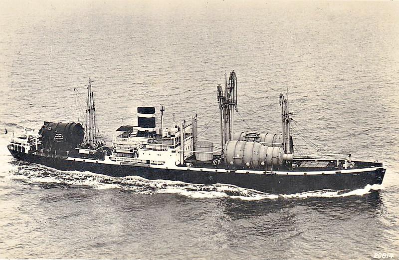 C1-A - 1943 - CAPE SABLE - Cargo - 5185GRT/6440DWT - 125.7 x 18.3 - 1943 Pennsylvania Shipbuilding Corpn., Beaumont, No.284 - 1943 FORT NASSAU, 1946 DELFT, 1967 CAMINA BAY, 1968 TIA JUANA - 01/70 broken up at Hong Kong - seen here as DELFT (KNSM).