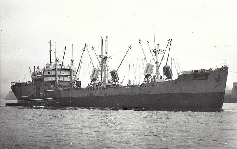 C1-M-AV1 - 1945 to 1947 - HICKORY STREAM - Cargo - 3834GRT/5032DWT - 103.2 x 15.2 - 1945 Consolidated Steel Corpn., Wilmington, CA, No.1324 - 1945 DOMINIC, 1962 SAMODRA MAS, 1964 LOMBARDUS, 1965 GOLDEN OCEAN - 03/06/71 sank Bay of Bengal, 9 dead, Hungnam for Visakhapatnam with manganese clinker - seen here as DOMINIC (Booth SS Co.)