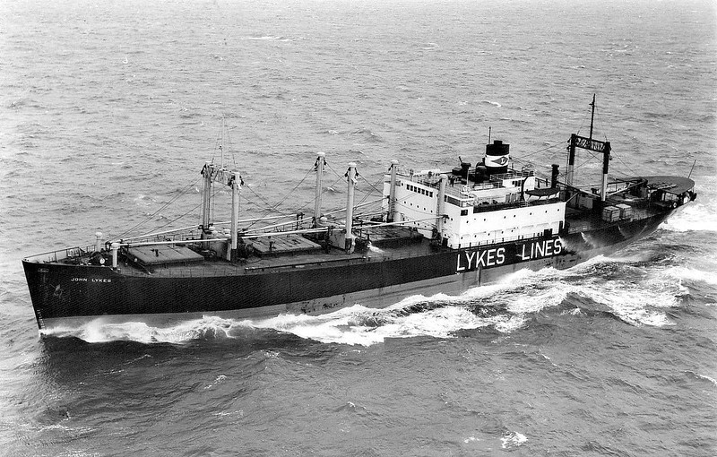 C1-B - 1941 to 1972 - JOHN LYKES - Cargo - 6829GRT/9249DWT - 127.3 x 18.4 - 1941 Federal Shipbuilding & Dry Dock Co., Kearny, No.176 - 12/72broken up at Panama City.