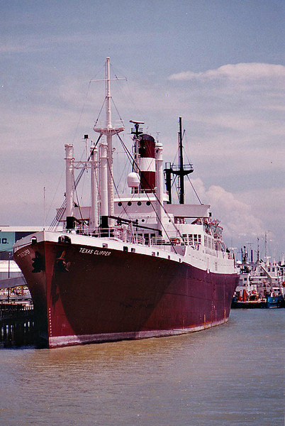 C3-S-A3 - 1944 to 1948 - QUEENS - Passenger/Cargo - 9644GRT/7336DWT - 144.2 x 20.1 - 1944 Bethlehem Sparrows Point Shipyard, No.4421 - 1948 EXCAMBION, 1965 TEXAS CLIPPER, 1997 TEXAS CLIPPER 2, 1998 TEXAS CLIPPER - 17/11/07 scuttled as part of a reef off Port Isabel, Texas - seen here at Galveston, 08/92.