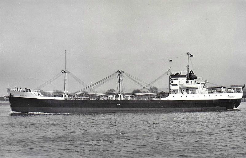 C1-M-AV1 - 1945 to 1948 - HICKORY MOUNT - Cargo - 3834GRT/5032DWT - 103.2 x 15.2 - 1945 Consolidated Steel Corpn., Wilmington, No.1322 - 1948 HEATHMORE, 1961 GRECIAN MED, 1969 IMATACA - 11.71 broken up at Bilbao - seen here as HEATHMORE (GBR), Johnston Warren Lines.
