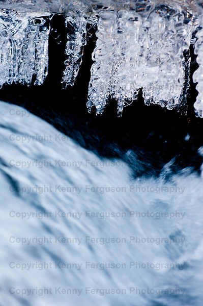 Ice on the river coe during the big freeze,detail