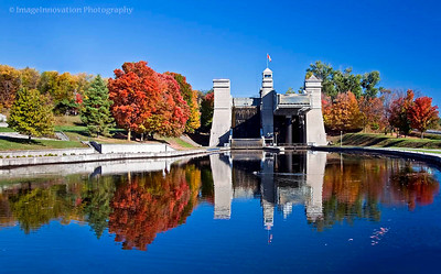 PETERBOROUGH, ONTARIO, CANADA Peterborough LIft Lock with fall colors. [liftlock_1206]