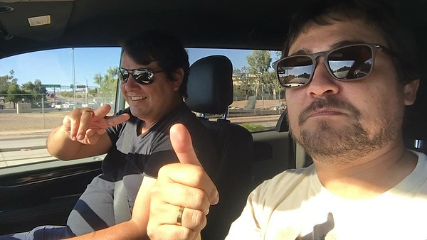 First, we have to get to a common location from all over the world! Here, our Brazilian guides Marcelo Padua (peace sign) and Marcelo Barreiros (thumbs up) have made the long journey to Arizona, the site of our 2019 meeting.