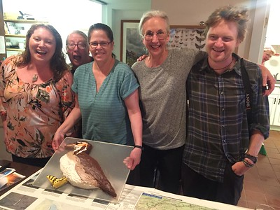 Each of us at Field Guides has a bird name, as most of you already know. But did you know that Abbie is the Sungrebe? Her cake is a life-size Sungrebe as well! (The confectionary crew of Tiara Westcott, Peg Wallace, Lynn Yeager, and Micah Riegner poses with the honoree.)