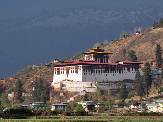 """Our arrival point is Paro, where the Paro Dzong overlooks the small town. A """"dzong"""" is a fortress-monastery. Dzongs continue to be religious centers and also function as administrative offices. Many mid-elevation valleys like this one are in rain shadows, and the birding is limited, but most everything is new. <div id=""""caption_tourlink"""" align=""""right""""><br>[photo © guide Richard Webster]</div>"""