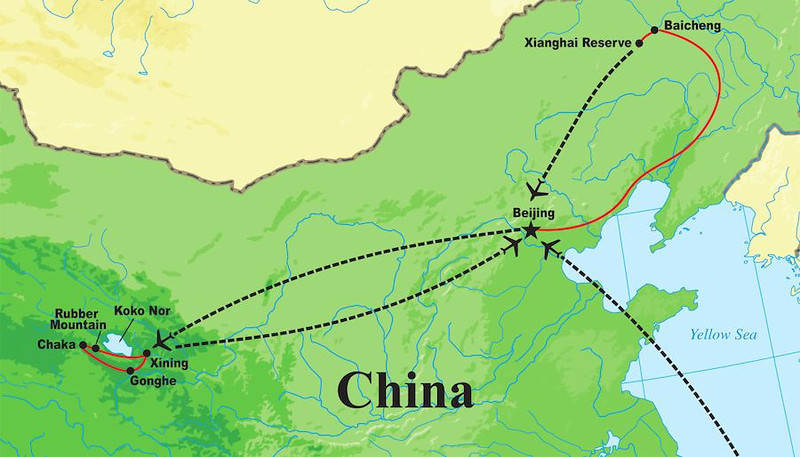 A map of our 2013 tour route from Koko Nor in the central part of the country to Xianghai in the far northeast.