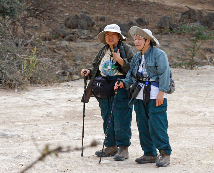 "Rosia and Yen discuss strategy, minutes before Rosia spots the Golden-winged Grosbeak! <div id=""caption_tourlink"" align=""right""> [photo © guide George Armistead]</div>"