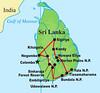 Guide Megan Crewe returned from our inaugural Sri Lanka tour with the following selection of captioned photos of places, people, and birds. Sri Lanka lies just off the southeastern tip of India across the Gulf of Mannar. Above, our tour route.