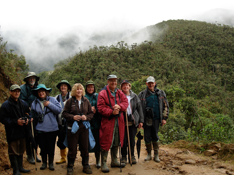 """The field! Here our intrepid group readies to walk the pass into Quebrada Honda, near Tapichalaca, on a quest for Golden-plumed Parakeets on our <a href=""""https://fieldguides.com/bird-tours/ecuador-south/"""" target=""""_blank""""><span class=""""slideshow_tourlink3"""">ECUADOR: THE SOUTHWEST &amp; JOCOTOCO RESERVES</span></a> tour. No matter what the species, the anticipation of a day filled with the sights and sounds of parrots is nearly as thrilling as the experience itself. Photo by guide Rose Ann Rowlett."""