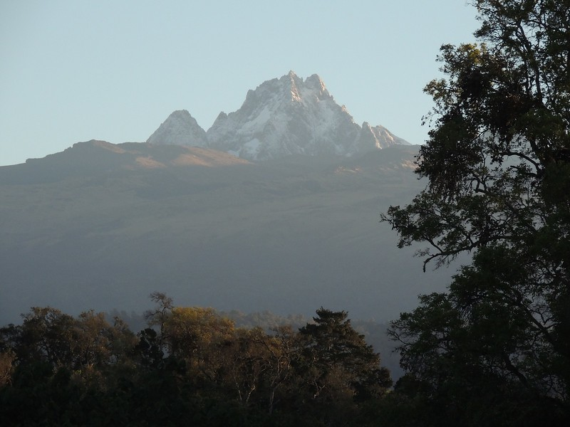 Mount Kenya from the roof of Mountain Lodge, photographed by guide Terry Stevenson