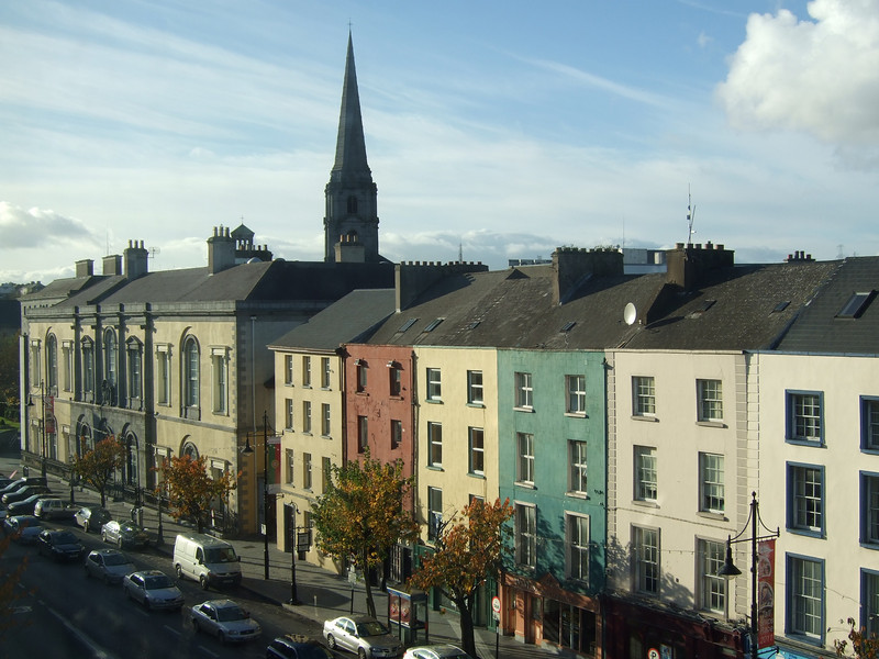 "Waterford streetscape from the window of Tower Hotel <div id=""caption_tourlink"" align=""right"">[photo © participant Anne Bergstrom]</div>"