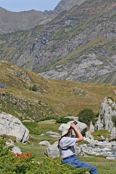 "This could be you birding in the Pyrenees! It is a mix of mountain birding, lowland birding, great food, good fun, and folks to share it with, and generally a pleasant pace and great scenery. <div id=""caption_tourlink"" align=""right"">[photo © participant Paul Thomas]</div>"