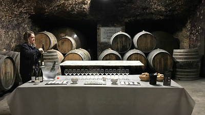 Preparing for a wine tasting in the cellars at Chateau Gaudrelle. Photo by Megan Edwards Crewe.
