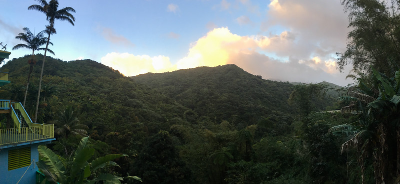 Sunset behind the lovely forested habitat of El Yunque, one of our destinations. (Photo by guide Doug Gochfeld)