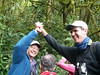 """Guides John Rowlett (left) and Jesse Fagan give high fives after seeing the Chiriqui Quail-Doves! <br><div id=""""caption_tourlink"""" align=""""right""""> [photo © participant Marcy Clements]</div>"""