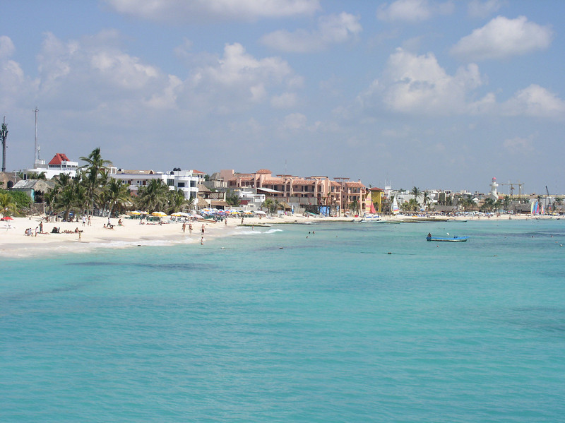 Our tour begins on the eastern shore of the Yucatan Peninsula, visiting Cozumel Island first before continuing to the mainland. Here's a view of famous Playa del Carmen. (Photo by guide John Coons)