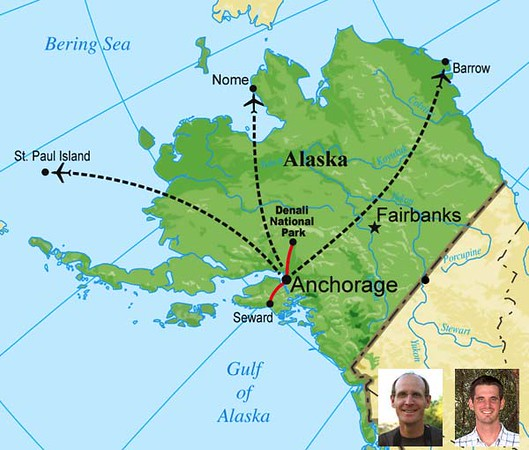 """Here are a few photos from our first 2008 Alaska tour (of two departures), guided by <b>Chris Benesh</b> and <b>Jesse Fagan</b>, pictured above, left and right respectively.  The map gives you an idea of the destinations covered on each of the two parts: St Paul Island in the Pribilofs and Denali National Park on Part One, and Nome, Seward, and Barrow on Part Two.  Chris provided these photos -- so take just a few minutes to look through them and enjoy!  From an evaluation of this 2008 tour: <i>""""Excellent tour as usual.  Alaska is spectacularly dramatic in its people, its landscape and, of course, its birds.  This was my second satisfying trip with Chris Benesh (his stories get better and he has more now).  Jesse Fagan was great too, and I would love to do one of his Central American or Caribbean trips with him.  Office service was excellent as usual.  This experience was right up there at the top.""""</i><div id=""""caption_tourlink"""" align=""""right""""><br>[photo © Chris Benesh]</div>"""
