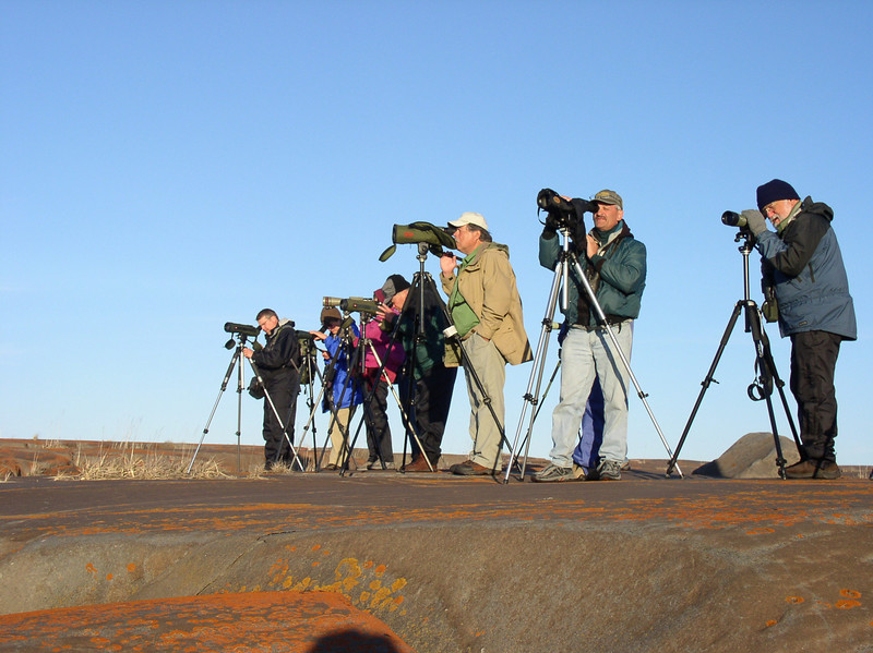 "Birding on a clear day <div id=""caption_tourlink"" align=""right""> [photo © guide John Coons]</div>"