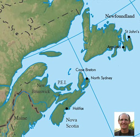 """Have a look through a few photos from our 2008 Newfoundland & Nova Scotia tour guided by <b>Chris Benesh</b>.  The map above locates some of the main stops on our itinerary, which begins in St John's, Newfoundland, covering the southeastern portion of the island before moving to Argentia for the famed ferry crossing to North Sydney, where our explorations take us to Cape Breton and then down the east coast to the terminus of Halifax.  Enjoy!<div id=""""caption_tourlink"""" align=""""right""""></div>"""