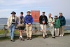 """Chris Benesh, to right of sign, with one of our groups<div id=""""caption_tourlink"""" align=""""right""""> [photo © participant Charles Oldham]</div>"""