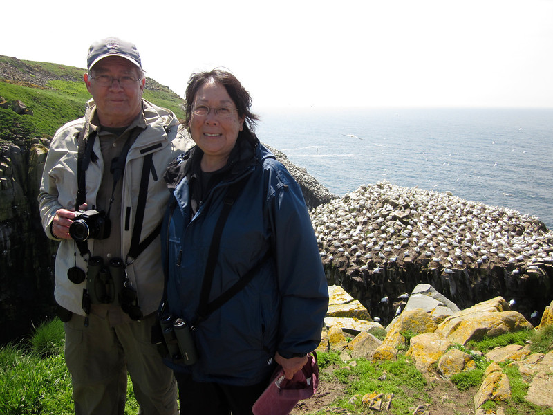 The show at Cape St Mary's brought smiles to everyone's faces, including participants Rich and Judy, and offered some great photo opportunities. (Photo by guide Lena Senko)