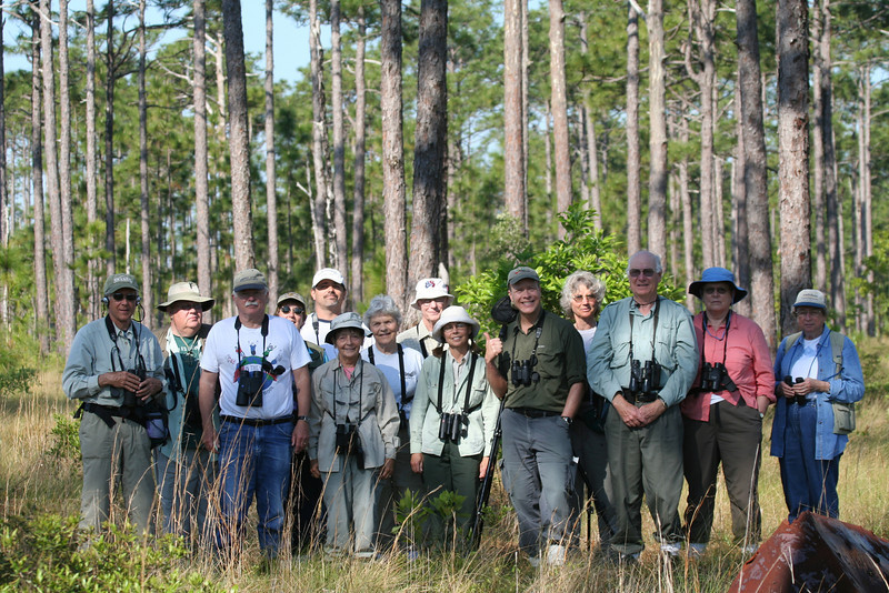 "Our happy group after seeing Bachman's Sparrow. <div id=""caption_tourlink"" align=""right""> [photo © guide George Armistead]</div>"