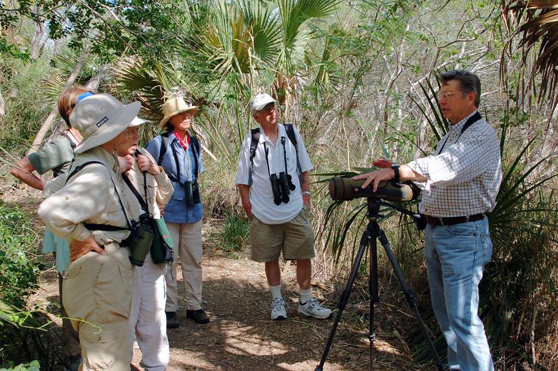 "Guide John Rowlett with group at Sabal Palm Sanctuary <div id=""caption_tourlink"" align=""right"">[photo © participant Judie von Eiff]</div>"