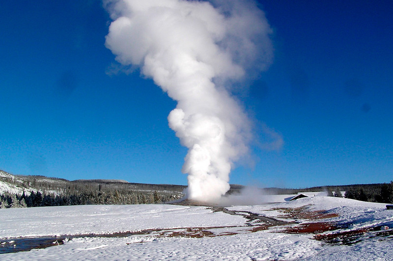 "Old Faithful is alive and kicking even in winter, minus the big crowds! <div id=""caption_tourlink"" align=""right""> [photo © participant Bill Denton]</div>"