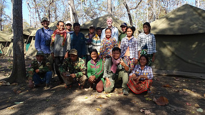Birders' Helping Hands #1: it almost took a village, but we had one! Guides Phil Gregory and Doug Gochfeld with the fab camp crew at Cambodia's Baeng Toal.