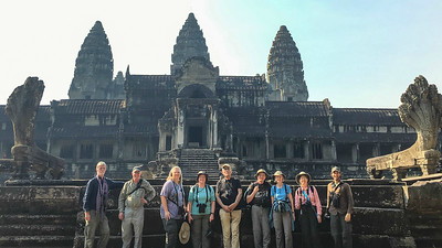 """Where we'd like to be"" #5: In front of the north gate of incomparable Angkor Wat in Cambodia. Photo by guide Doug Gochfeld."