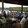 """""""Where we'd like to be"""" #4:  After flight/motorboat ride/canoe paddle, a welcome on the lakeside deck at Ecuador's Sacha Lodge. Photo by guide Willy Perez."""