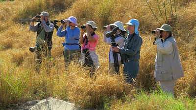 In the birding weeds in South TX: Fortunately, guide Chris Benesh (l.) is great at getting us both literally and figuratively out of them! Photo by participant Karen Lintala.