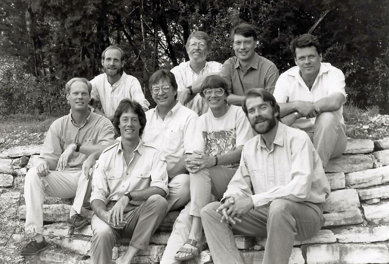 Welcome, all, to a different kind of tour--one through time rather than habitats--a look back on who we are and how we made the journey from our beginnings in 1985 to the present time. This is one of the earliest photos of our founders--brother and sister John Rowlett and Rose Ann Rowlett at center, Bret Whitney and bearded Jan Erik Pierson in front of them--flanked by the first guides they recruited in 1986-1987: from left, Dave Stejskal, Chris Benesh, John Arvin, John Coons, and Doug McRae. In addition to being a remarkably friendly bunch, all of these guides brought expertise in birding and guiding across the Americas, from the Canadian Arctic to Tierra del Fuego. (Not pictured this 1990 photo are guides Terry Stevenson and Frank Oatman, who added many locations in the Old World to our early tour offerings.) Fair warning: we will be tooting our own horns a fair bit in this walk down memory lane, but every word is true! Photo by Bret Whitney.