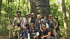 """Our """"South of the Capricorn"""" group, with guides Bret Whitney and Marcelo Padua in front, poses before a 36 meter-tall, 500+ year-old Araucaria angustifolia."""