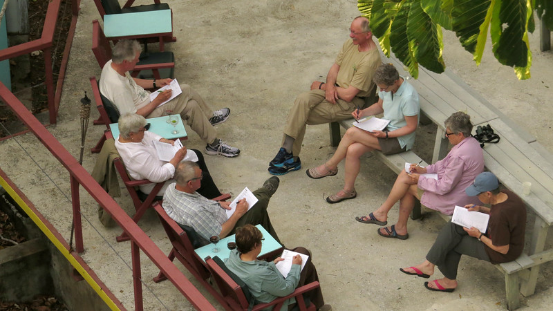 A view down on bird tally time at the Canopy Tower. Photo by participant Linde Eyster.