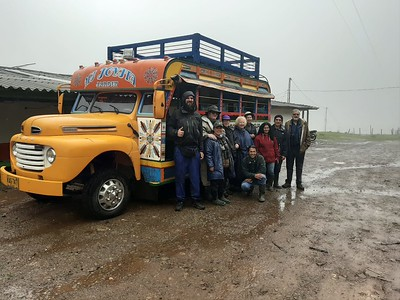"""We hop over now to the South American mainland, where our group beside their trusty-ish conveyance (""""Mi Joyita"""" - """"My Little Gem""""), beaming despite the rain, has just seen a fine bird on the Colombia: Medellin Escape tour with Jesse Fagan and Daniel Uribe."""