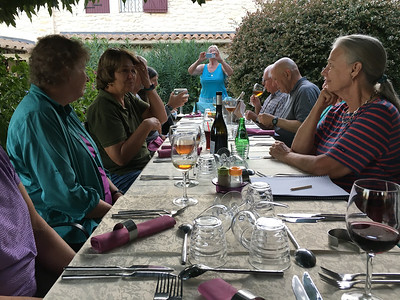 "In the Camargue, we lodge at the Mas de la Feniere and usually dine ""al fresco"" (as they also say in France!) in the garden courtyard, enjoying the fruits of the terroir, both the wines and the fine farm-to-table foods. Yes, we do plenty of birding, too! (Photo by guide Marcelo Padua.)"