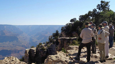Guide John Coons (scanning) and group got to take in a lot of fine vistas at the Grand Canyon -- in part to scan for condors! Photo by participant Christine Kooi.