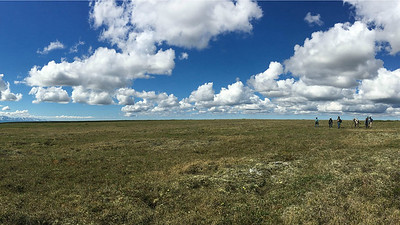 This may look like the flatlands, but it's the vast top of Coffee Dome east of Nome, where the target is...