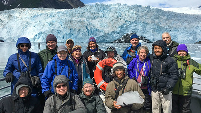 Next up, pics from our 4 recent Alaska departures: Here's one of our groups with guides Megan Crewe and Doug Gochfeld (each with ice) in front of oh-so-blue Aialik Glacier...