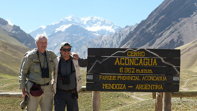 Our guides are willing to go to great heights to find you birds -- in this case, guides John Coons (l.) and Marcelo Padua above 10,000' with Cerro Aconcagua (South America's highest peak) looming in the background. Photo by participant Sue Wright.