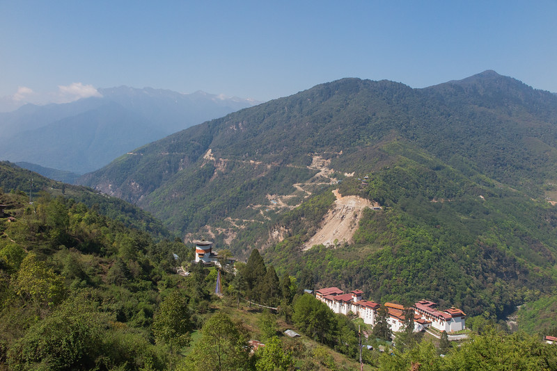A visual summary of Bhutan 2016: many sunny days, much habitat for birding, grand vistas, the beautiful Trongsa Dzong, and the new road cut. Photo by guide Richard Webster.