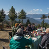 A lovely field breakfast on Sheytang La, looking out over Shingyer, where we saw the Snow Pigeons. Photo by guide Richard Webster.
