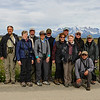 We paused for a group shot with Torres del Paine in the background. Guides Willy Perez and Megan Edwards Crewe are, respectively, kneeling and at far left. Photo by participant Charlotte Byers.