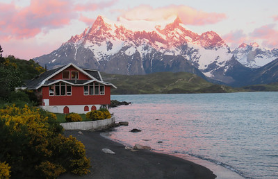 This dramatic shot of alpenglow in Torres del Paine was shared by participant Craig Caldwell. Hotel Pehoe sits in the foreground.