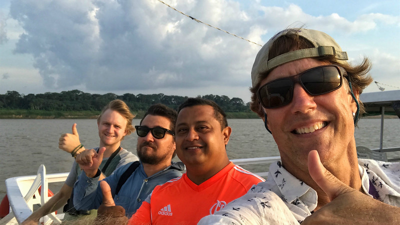 Our next set of images comes from one of our tours from the GREAT RIVERS OF THE AMAZON series. The guides (from right to left) for this boat-based tour on the Rio Aripuana were Bret Whitney, Moacir Fortes a.k.a. Junior (our captain!), Marcelo Barreiros, and Micah Riegner. Looks like a tough life! Photo by participant Chuck Holliday.
